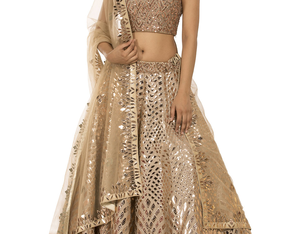 Skin Color Party Wear Lehenga with Copper Leather Work (Style Code: 2388514)