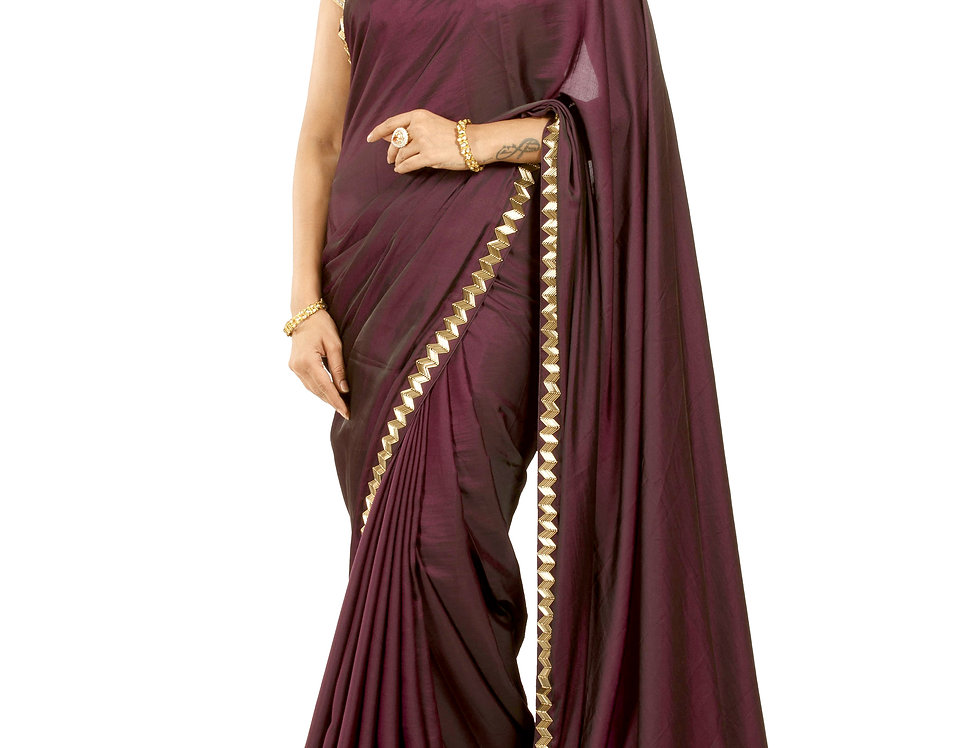 Wine Color Silk Designer Saree with Blouse (Style Code: 2390293)