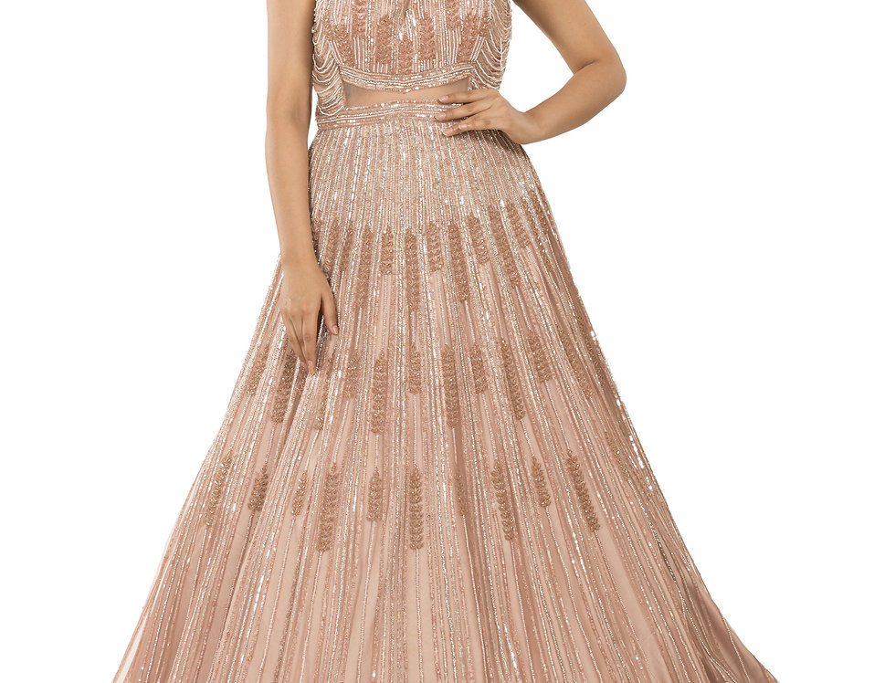 Rose Pink Party Wear Gown with Silver Crystal Work (Style Code: 2356436)