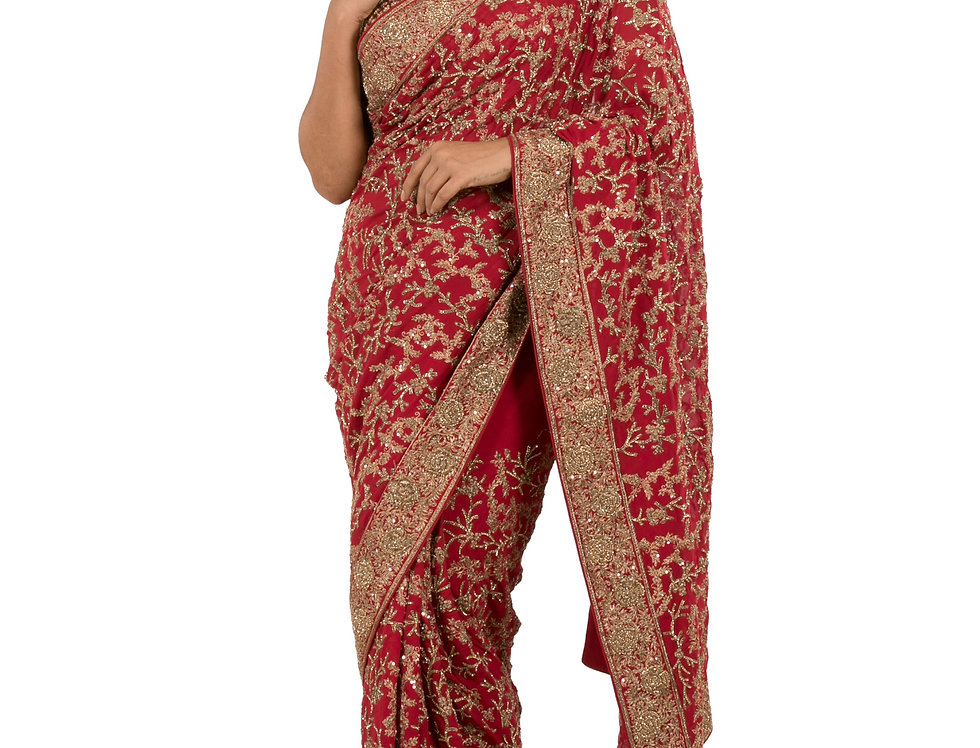 Maroon Georgette Designer Saree with Border & Blouse (Style Code: 2262676)
