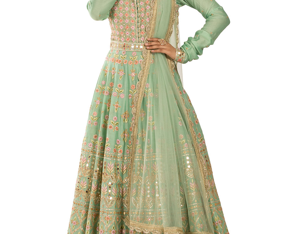 Pista Green Base Net Anarkali Suit with Dupatta (Style Code: 2327194)