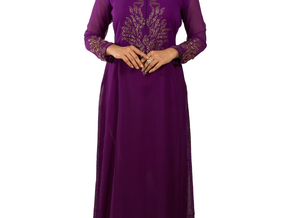 Wine Base Georgette Designer Long Kurti with Stone Work (Style Code: 2382706)