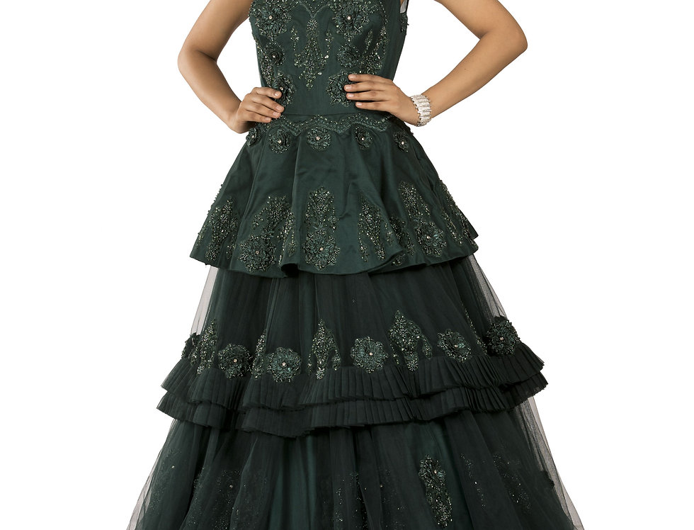 Emerald Green Party Wear Gown with Self Thread Work (Style Code: 2369819)