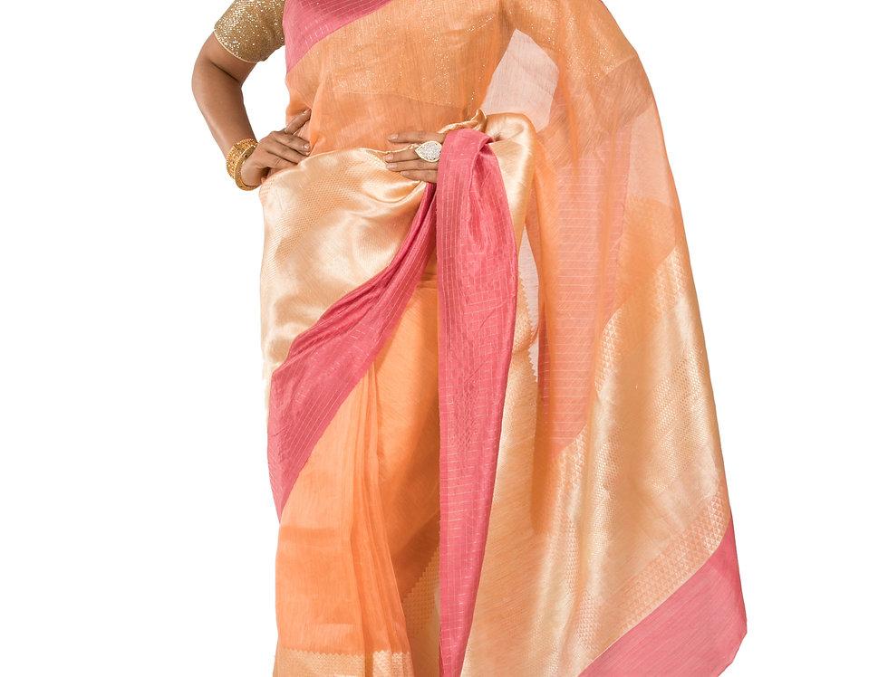 Peach & Pink Sico Designer Saree with Zari Work & Blouse (Style Code: 2362819)