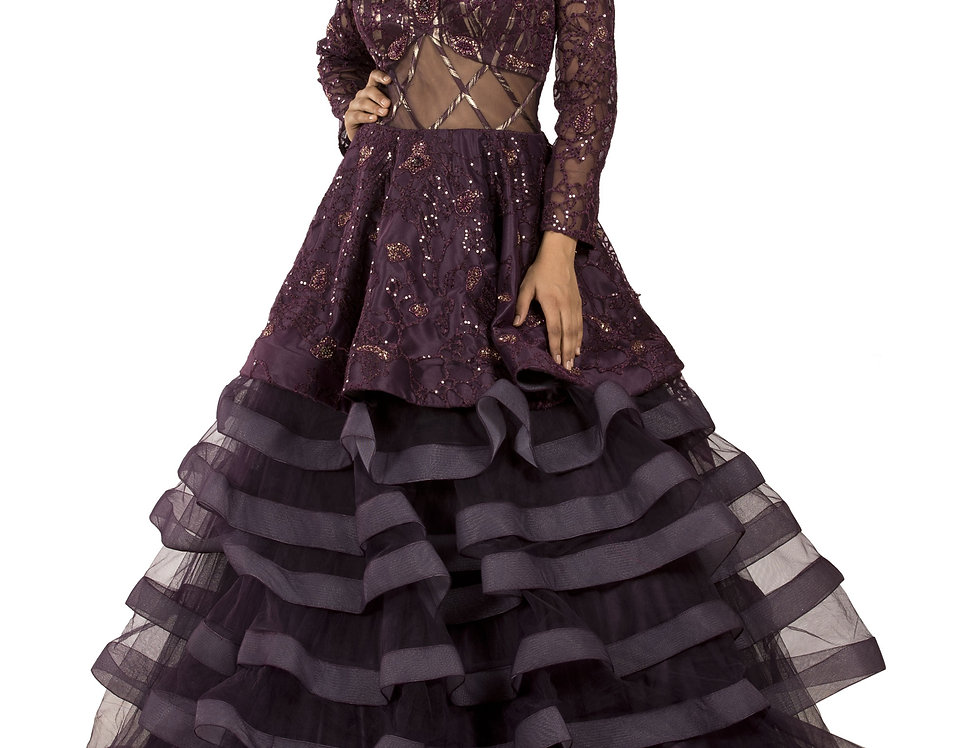 Wine Color Party Wear Gown with Self Threadwork (Style Code: 2369113)