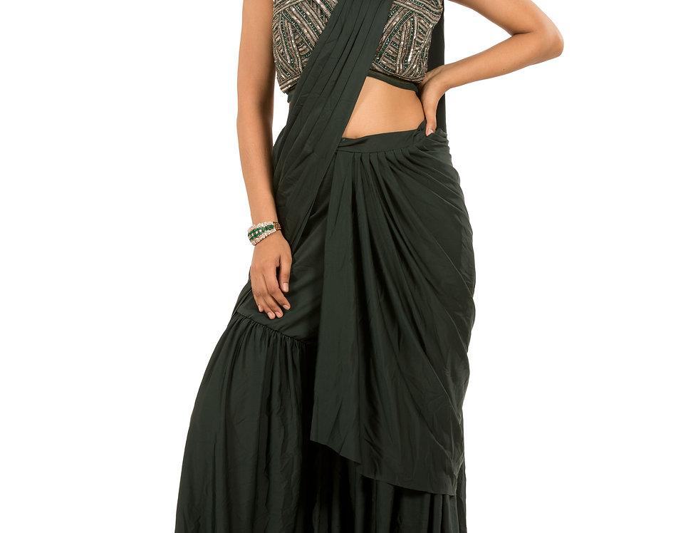 Dark Green Base Lycra Designer Stitch Draped Saree with Blouse (Code: 2369815)