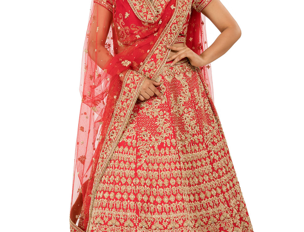 Red Base Silk Lehenga with Zardozi Work & Dupatta (Style Code: 2352203)