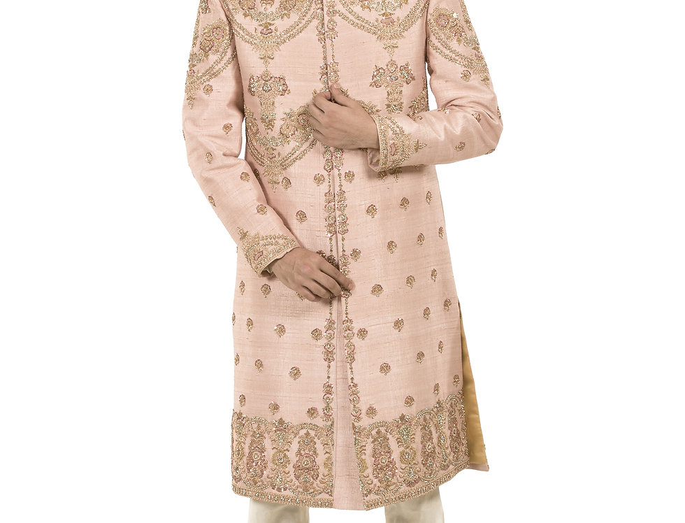 Light Pink Raw Silk Sherwani with Zardozi Embroidery (Style Code: 2381417)