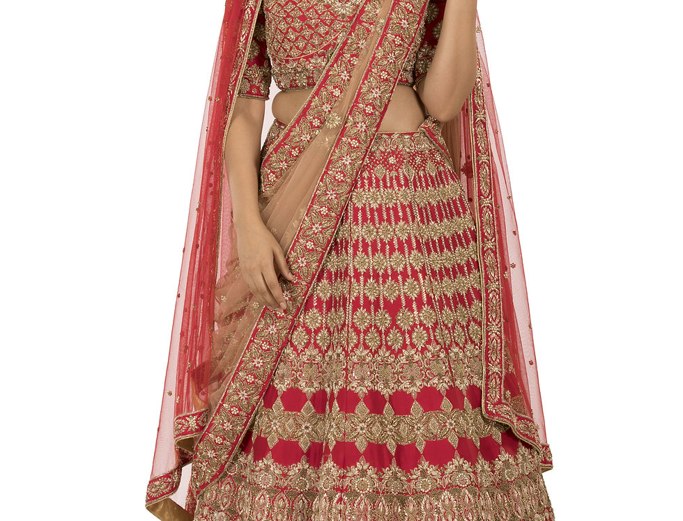 Red Base Silk Bridal Lehenga with Two Separate Dupattas (Style Code:2242254)