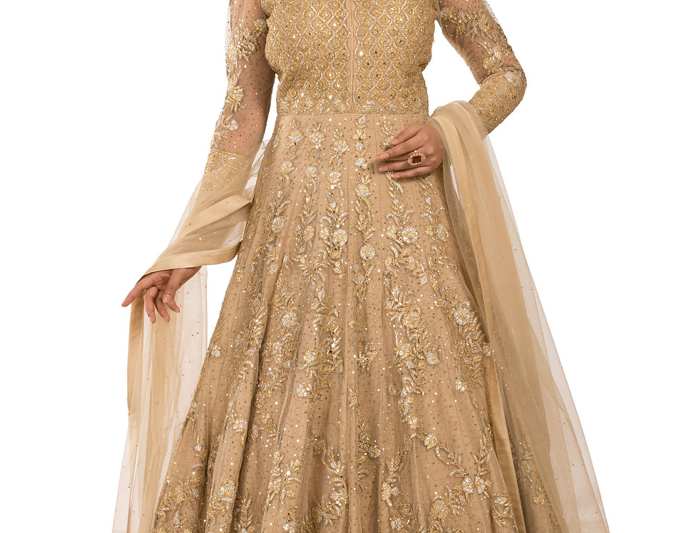 Golden Base Net Anarkali Suit with Embroidery & Dupatta (Style Code: 2335605)