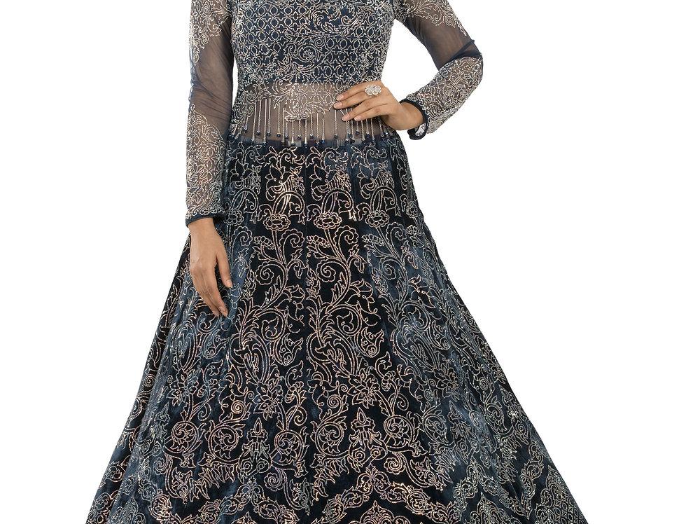 Blue Velvet Party Wear Gown with Swarovski Work (Style Code: SW-ST)