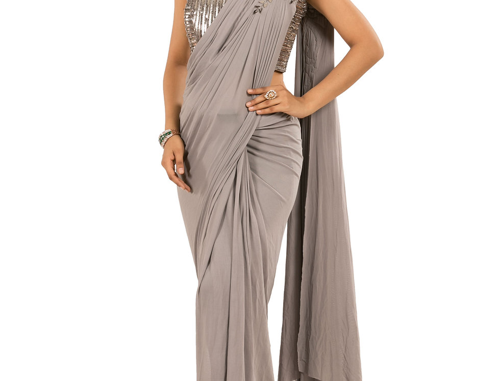 Grey Base Lycra Designer Stitch Draped Saree with Blouse (Style Code: 2387974)