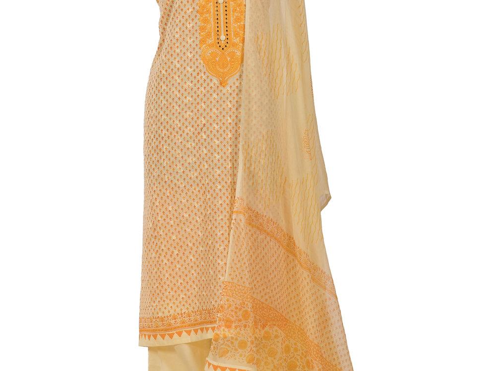 Lemon Base Cotton Unstitched Suit Salwar & Dupatta (Style Code: 2383729)