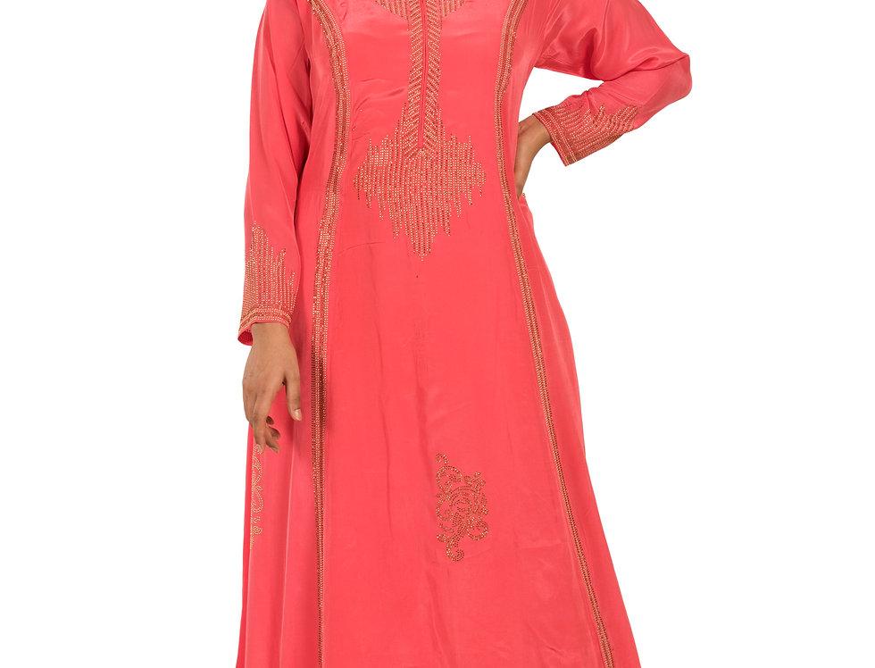 Pink Base Silk Western Kurti with Swarovski Work (Style Code: 2366568)