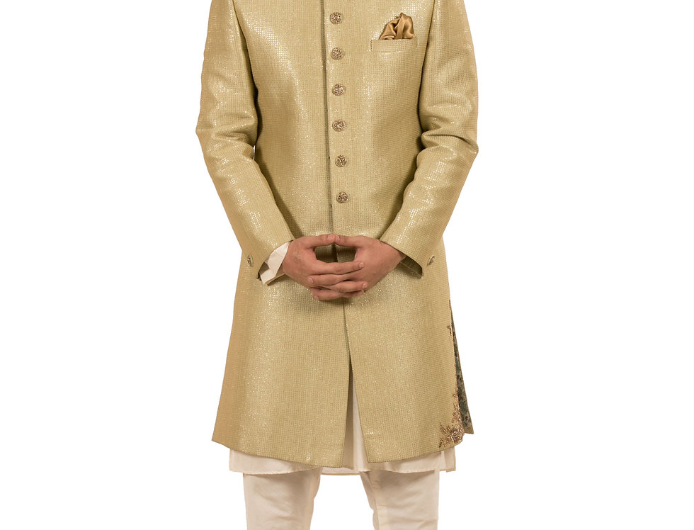 Pista Base Designer Sherwani with Embroidery & Churidar (Style Code: 2319175)
