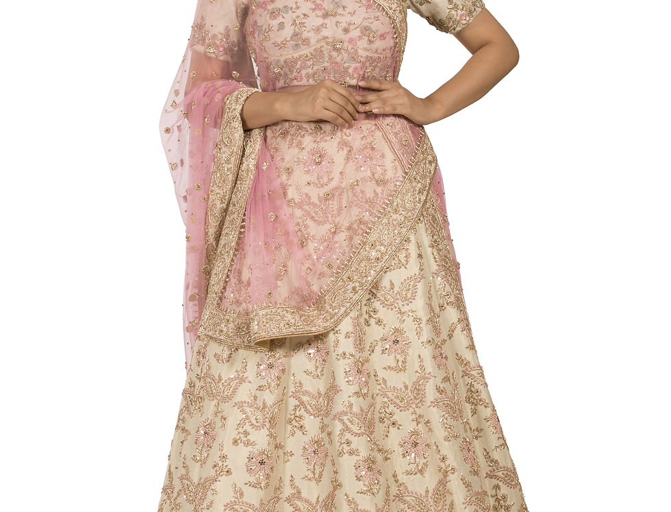 Ivory Tissue Silk Lehenga with Zardozi Work & Dupatta (Style Code: 2367856)