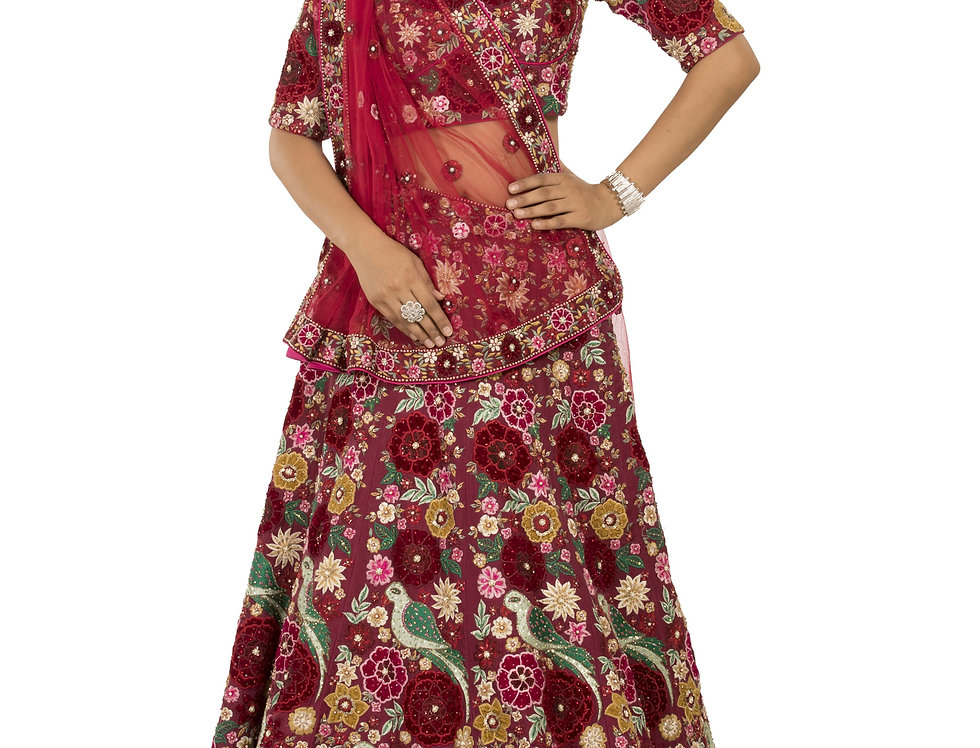 Maroon Lehenga with Multicolor Applique & Swarovski Work (Style Code: 2321198)