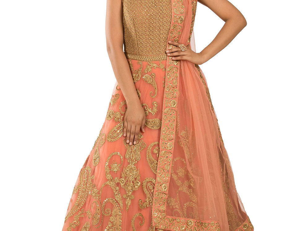 Peach Base Net Anarkali Suit with Dupatta (Style Code: 2359552)