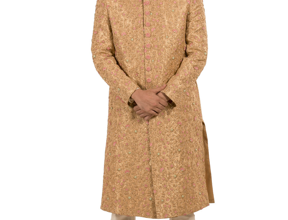 Gold Base Brocade Sherwani with Embroidery & Churidar (Style Code: 2305554)