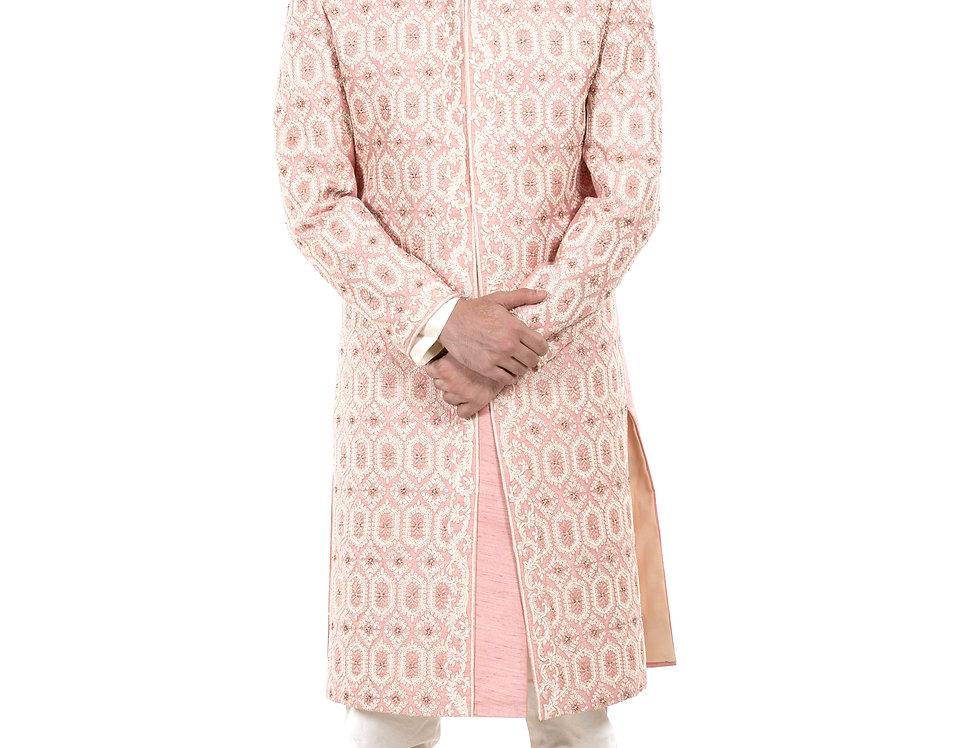 Pink Base Dupion Sherwani with Dori, Cut Dana & Moti Work (Style Code: 2380084)