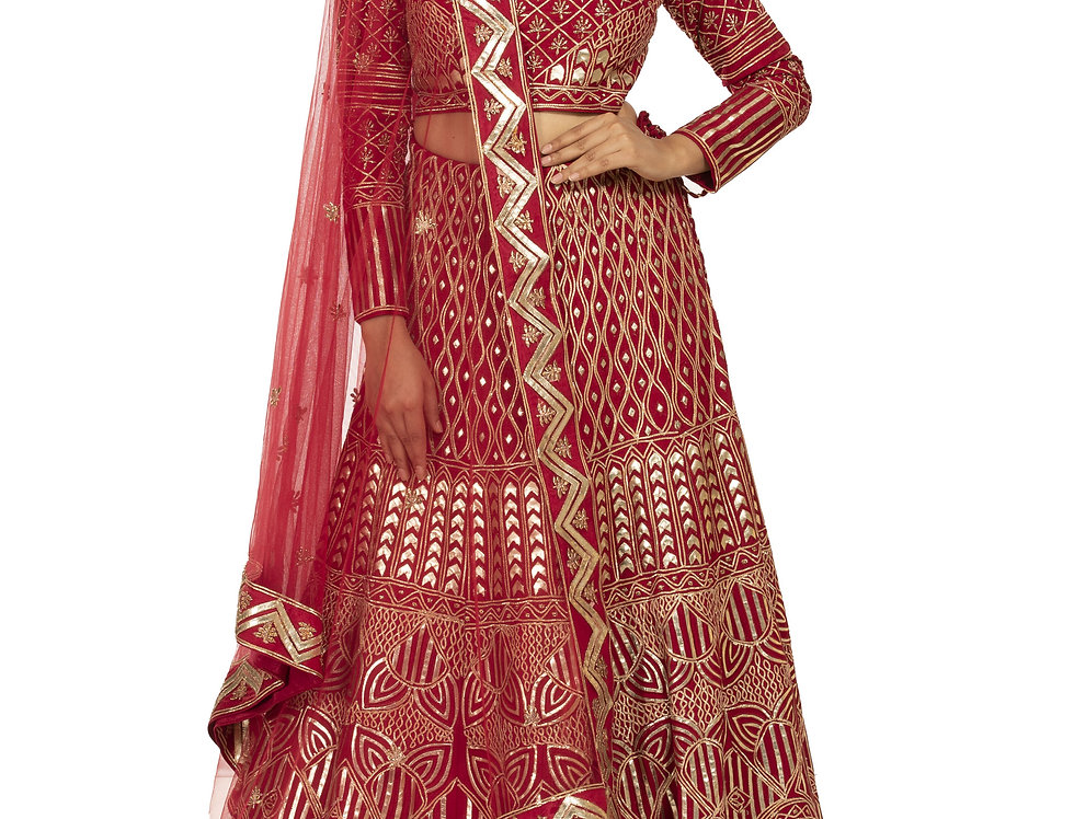 Red Party Wear Lehenga with Leather Applique Work (Style Code: 2366400)