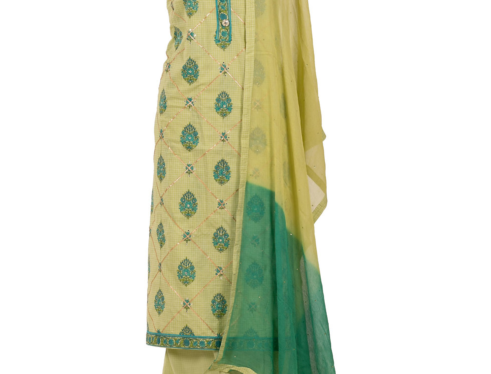 Pista Green Base Cotton Unstitched Suit Salwar & Dupatta (Style Code: 2370278)