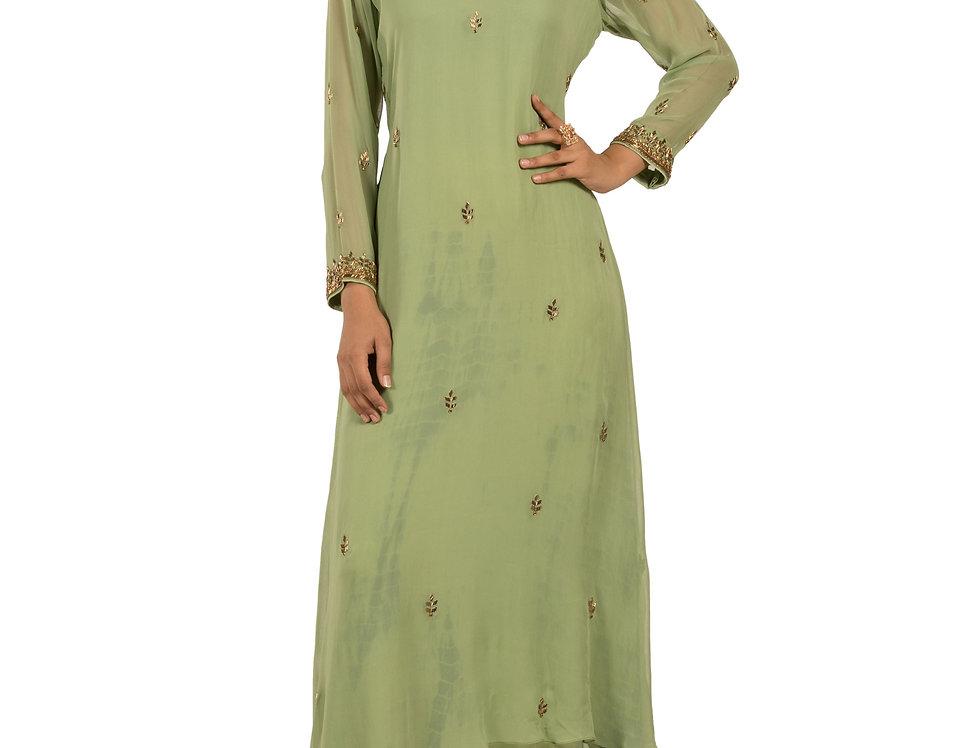 Mehendi Green Printed  Floor Length Western Dress & Skirt (Style Code: 2366528)