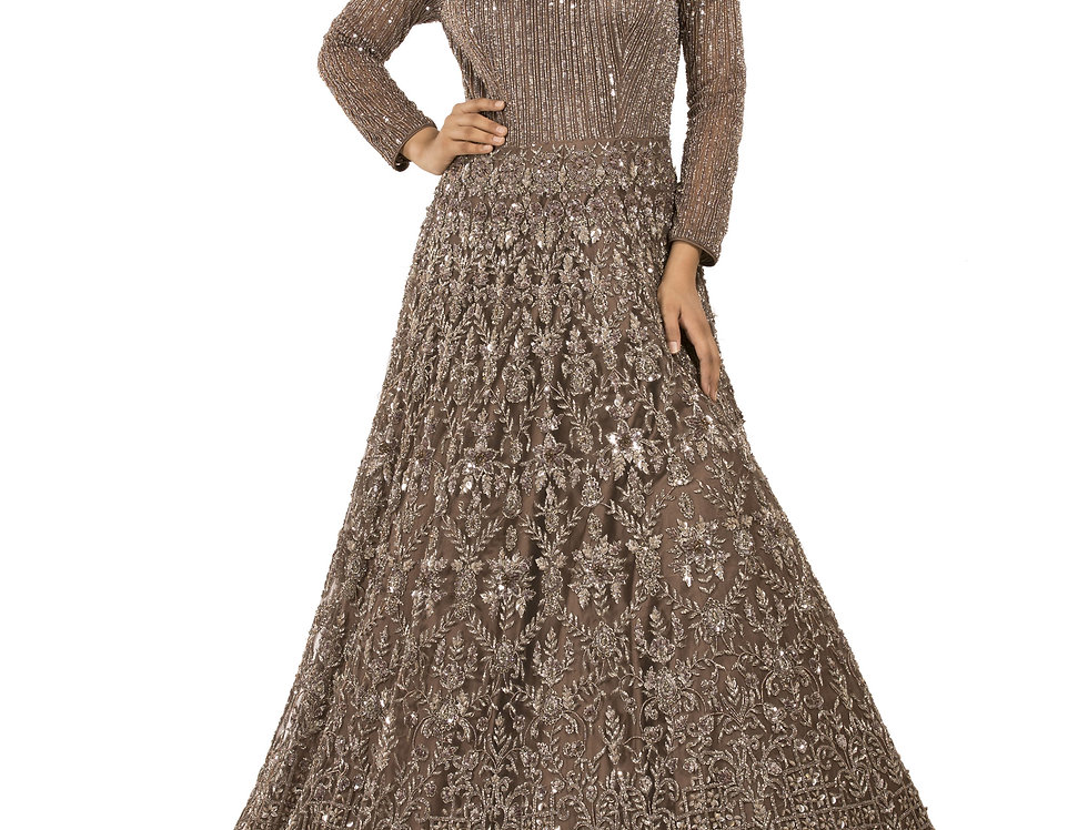 Smokey Grey Party Wear Gown with Crystal Work (Style Code: 2373545)