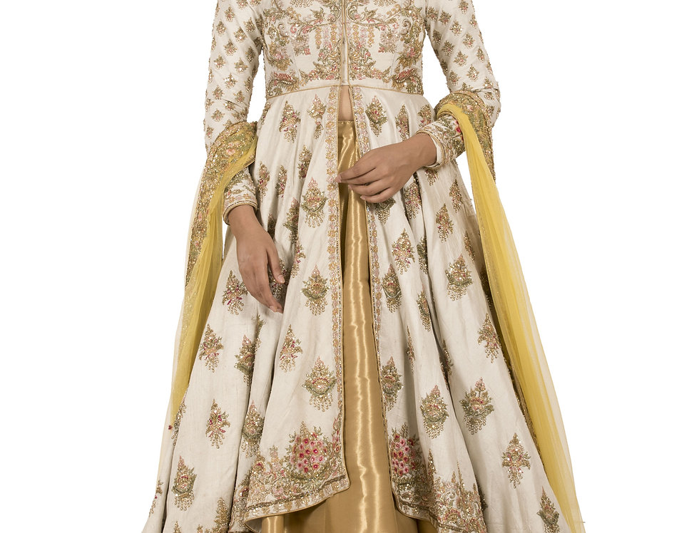 Ivory Designer Jacket Style Silk Top & Lehenga Set (Style Code: 2279117)