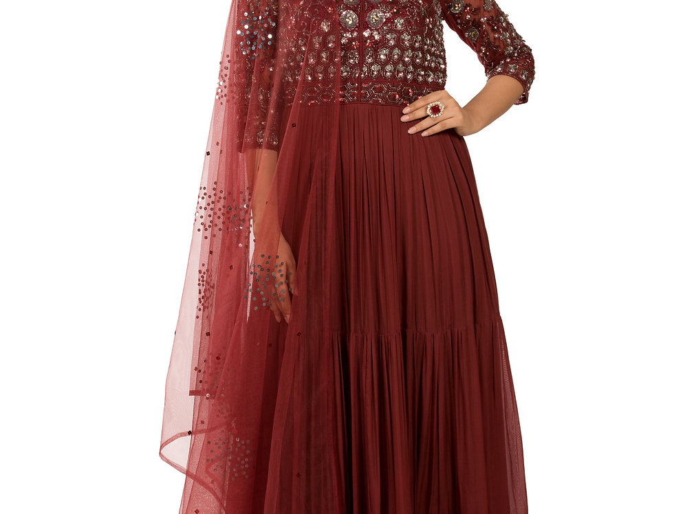 Rusty Brown Readymade Designer Georgette Suit with Dupatta (Style Code: 2375481)