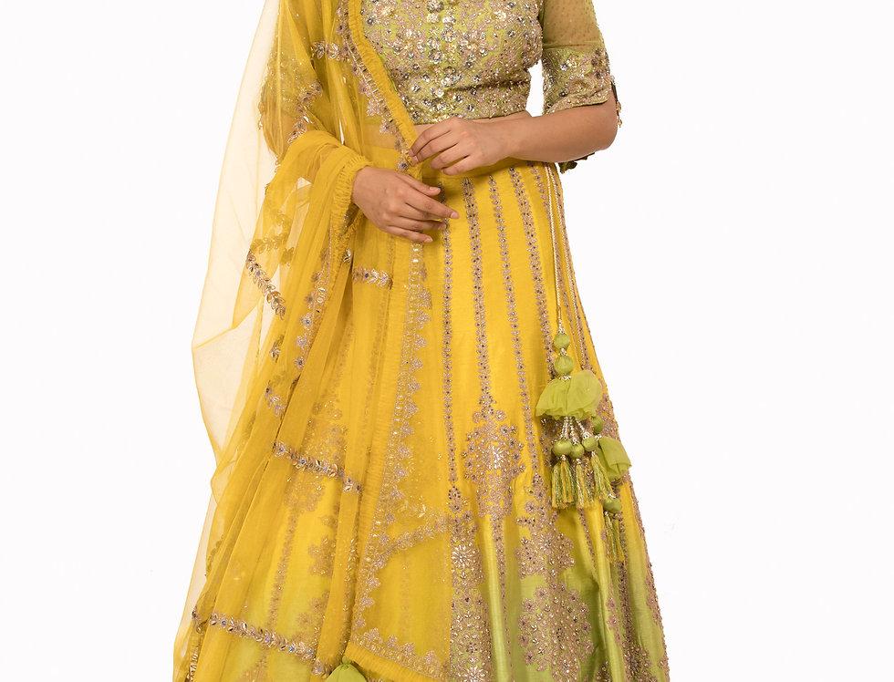 Lemon Yellow to Mint Green Shaded Party Wear Silk Lehenga (Style Code: 2383594)