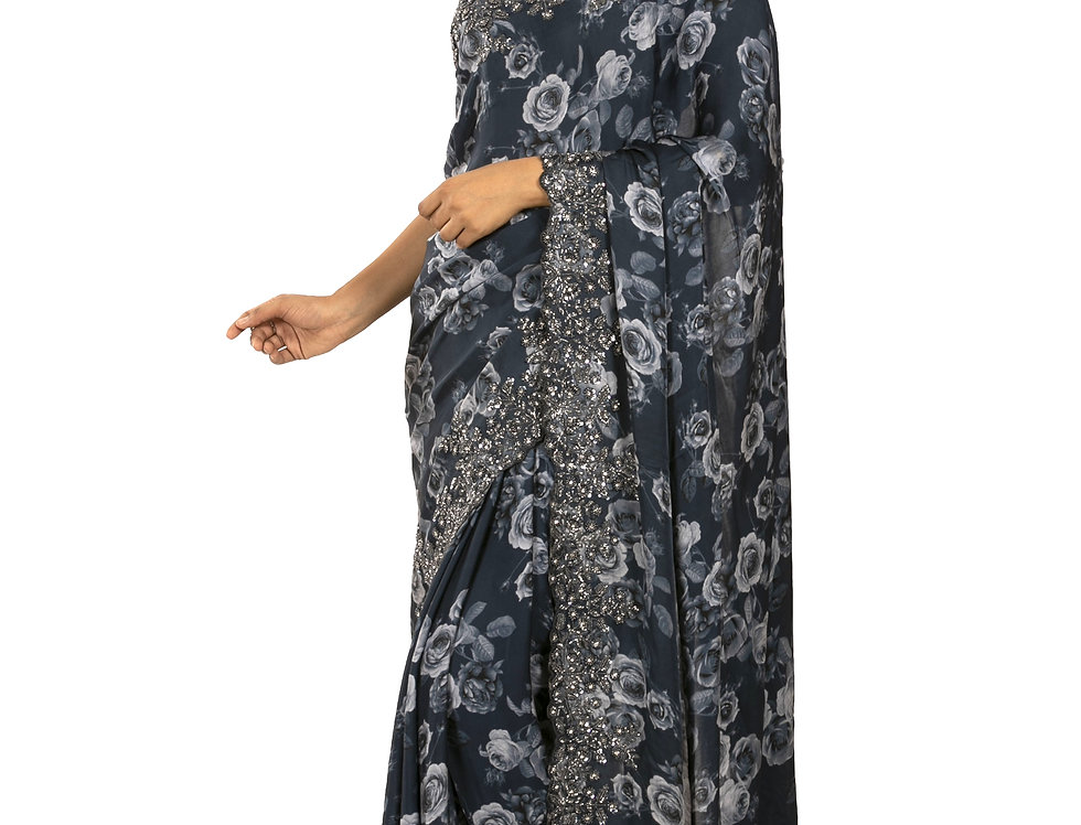 Grey Base Pure Satin Designer Saree with Blouse (Style Code: 2343349)