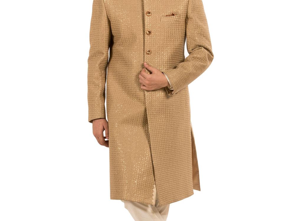 Beige Base Dupion Sherwani with Embroidery & Churidar (Style Code: 1777296)