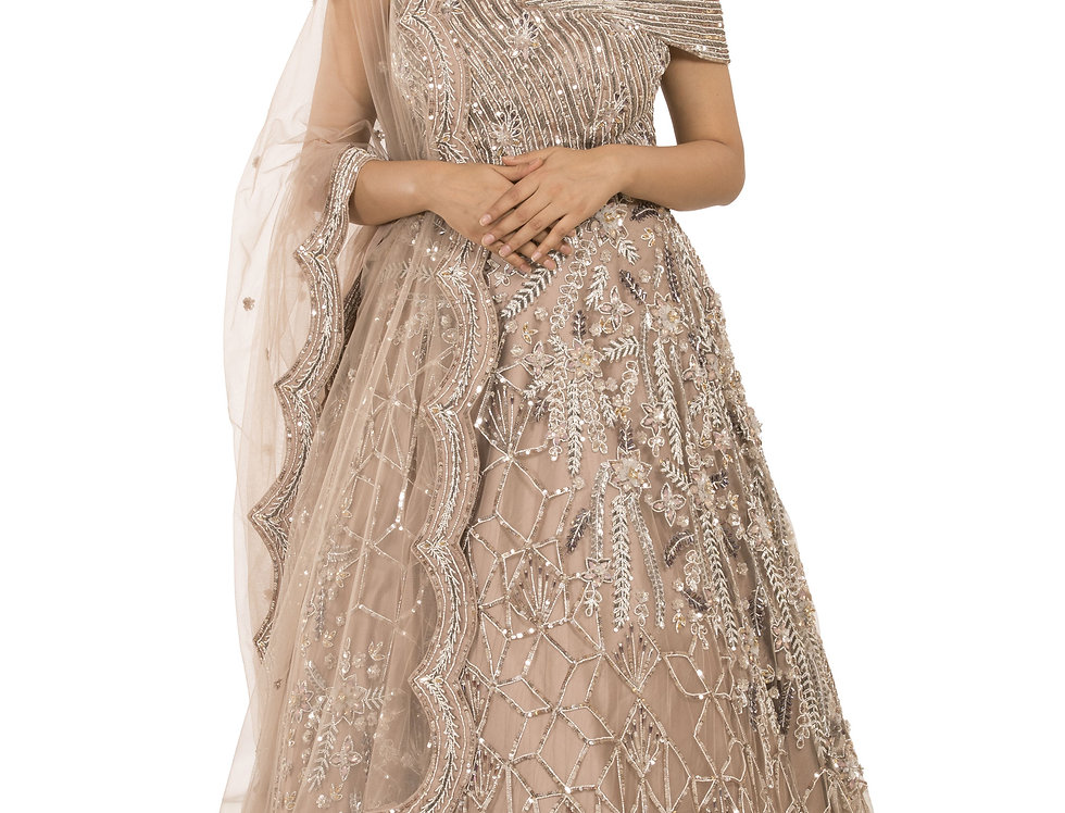 Rose Gold Party Wear Lehenga with Dupatta (Style Code: 2358819)