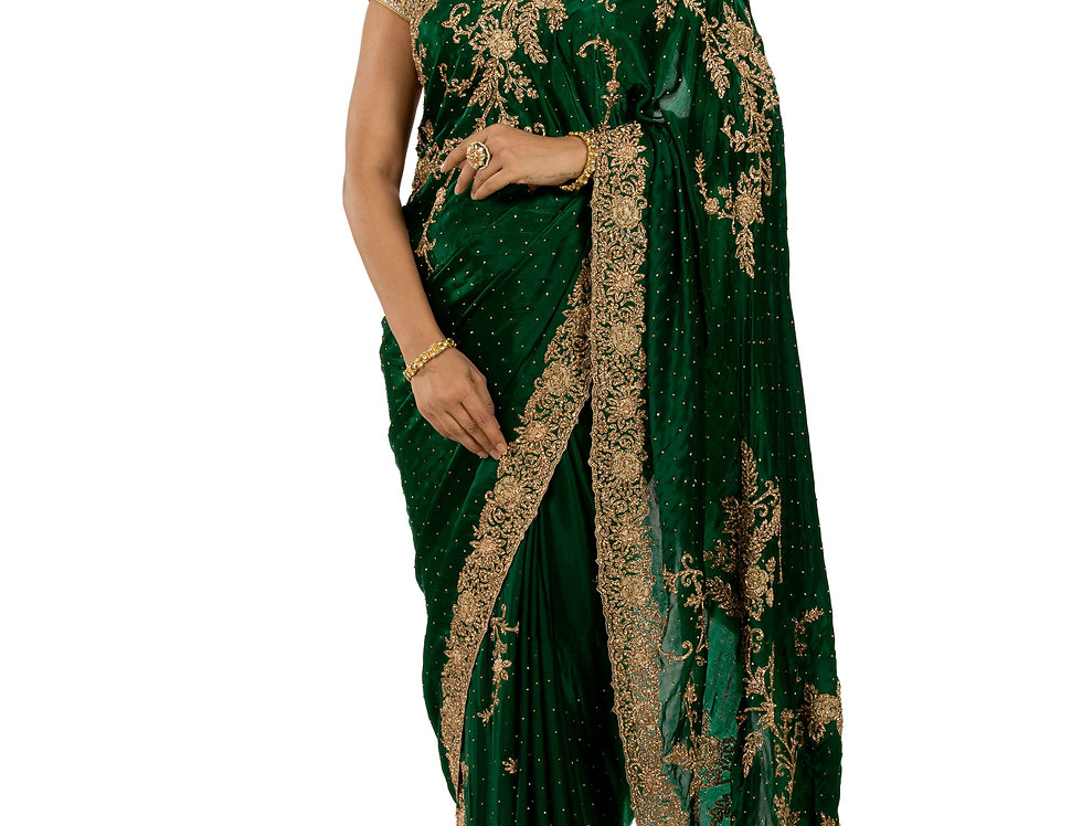 Green Base Satin Designer Saree with Zarkan Work & Blouse (Style Code: 2374117)