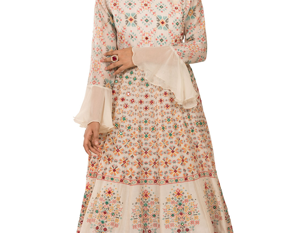 Off White Base Chanderi Silk Gown with Embroidery Work (Style Code: 2359065)