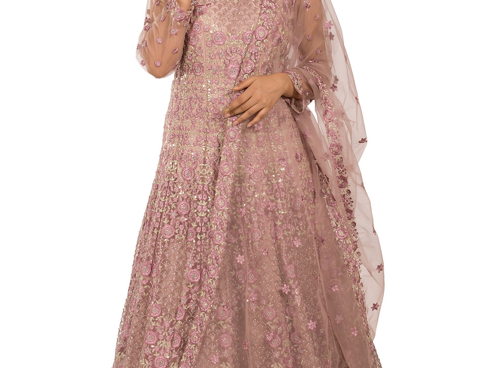 Mauve Anarkali Suit with Embroidery Work & Dupatta (Style Code: 2389569)