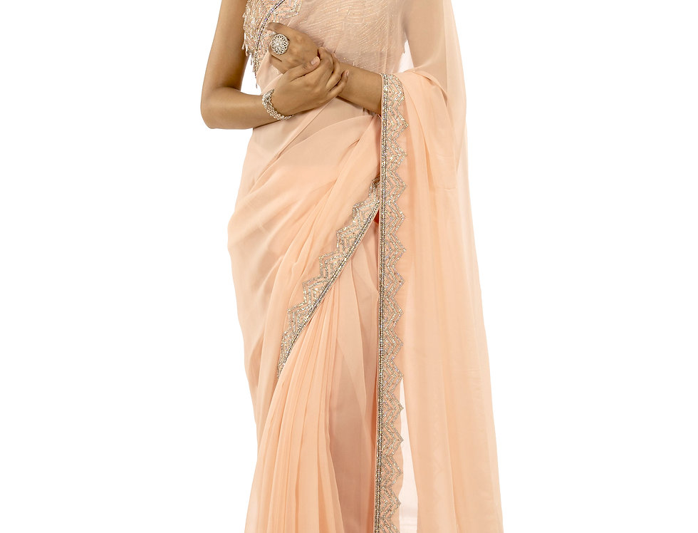 Peach Gerogette Saree with Zardozi & Stone Work & Blouse (Style Code: 2370019)