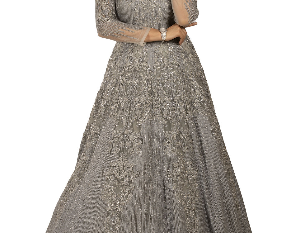 Light Grey Party Wear Gown with Self Zari & Crystal Work (Style Code: 2354927)