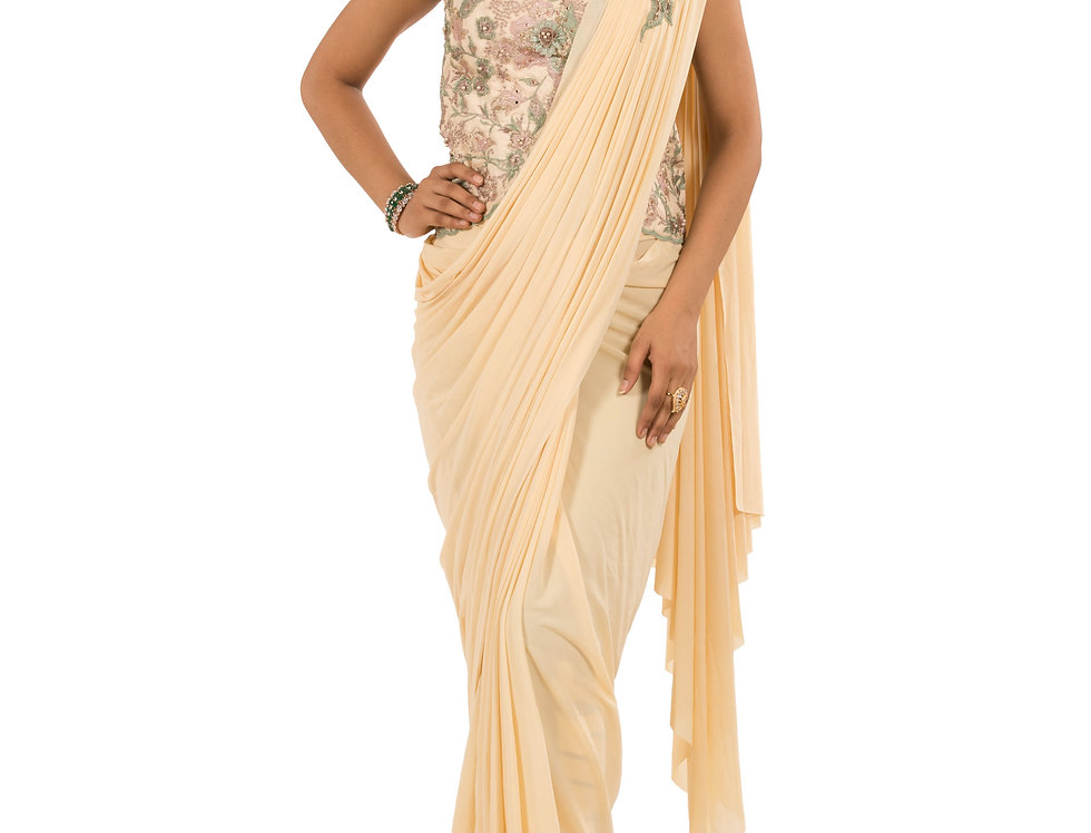 Beige Base Lycra Designer Stitch Draped Saree with Blouse (Style Code: 2386024)