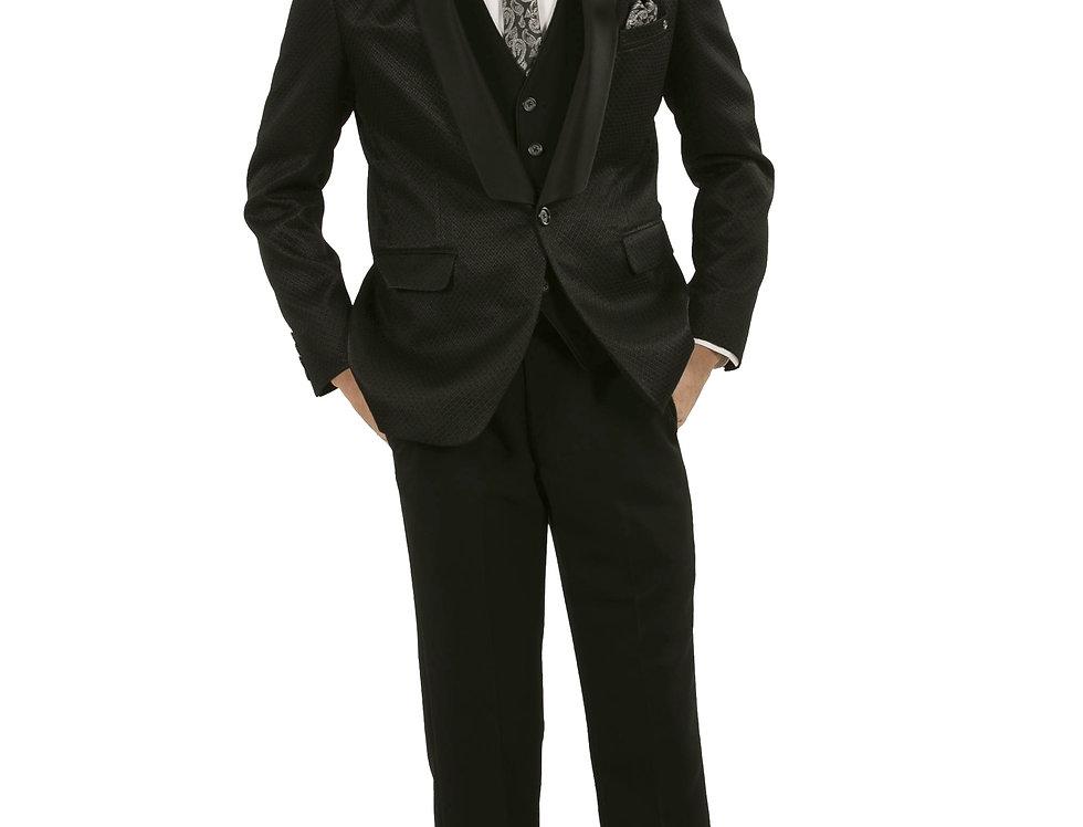 Black Poly-Viscose Fabric Tuxedo Jacket with Pant & Shirt (Style Code: 2340083)