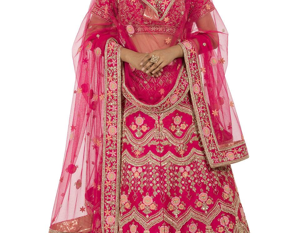 Coral Pink Base Silk Zardozi Work Lehenga with Dupatta (Style Code: 2381954)