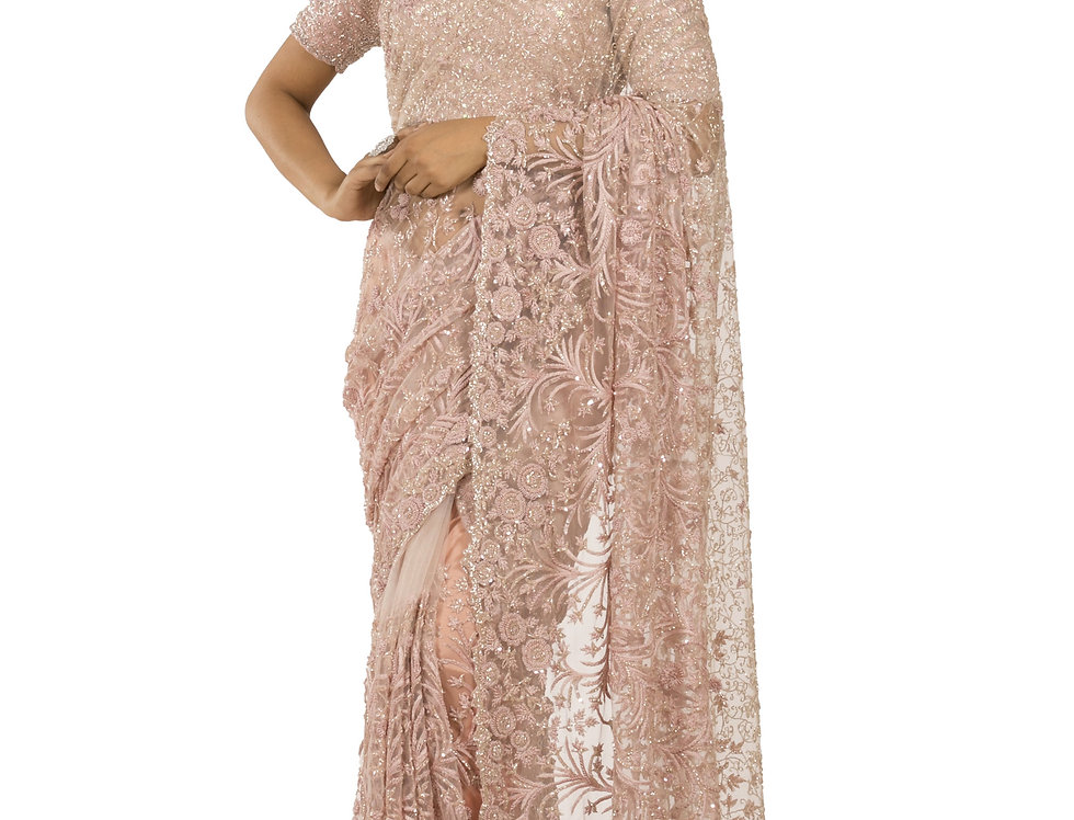 Pink Peach Shaded Net Designer Saree with Blouse (Style Code: 2333519)
