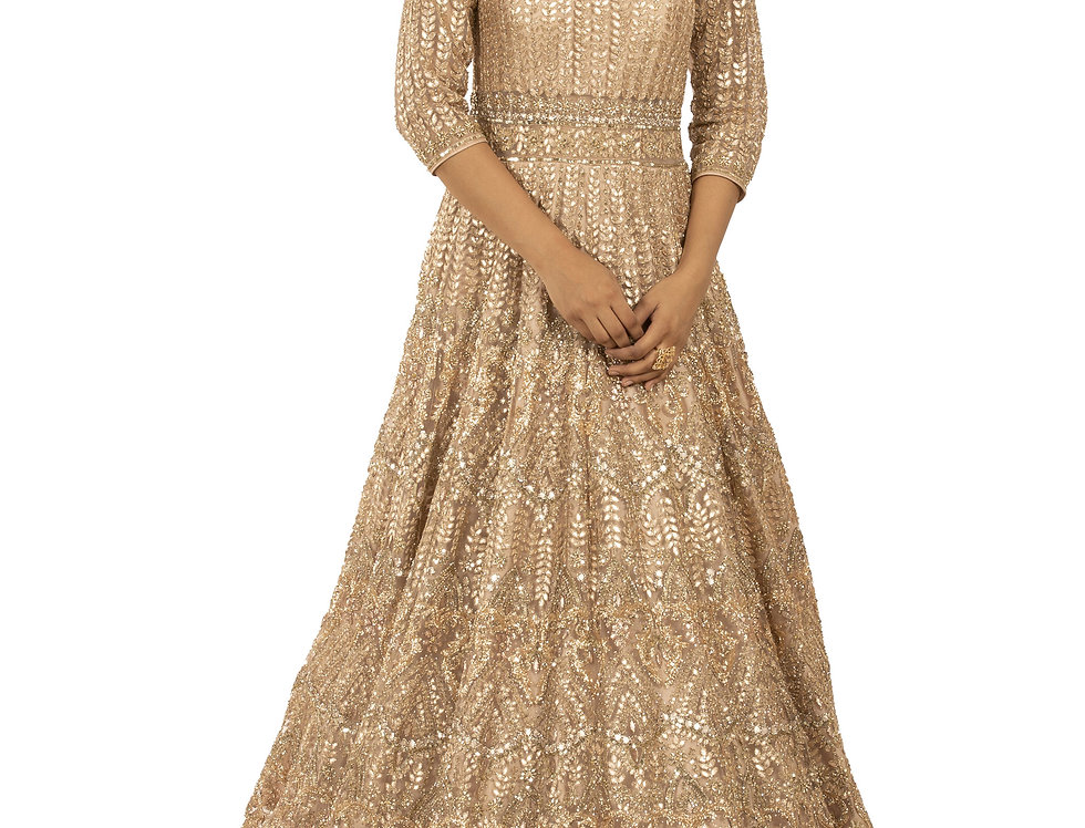 Rose Gold Party Wear Gown with Sequence and Zari Work (Style Code: 2388064)
