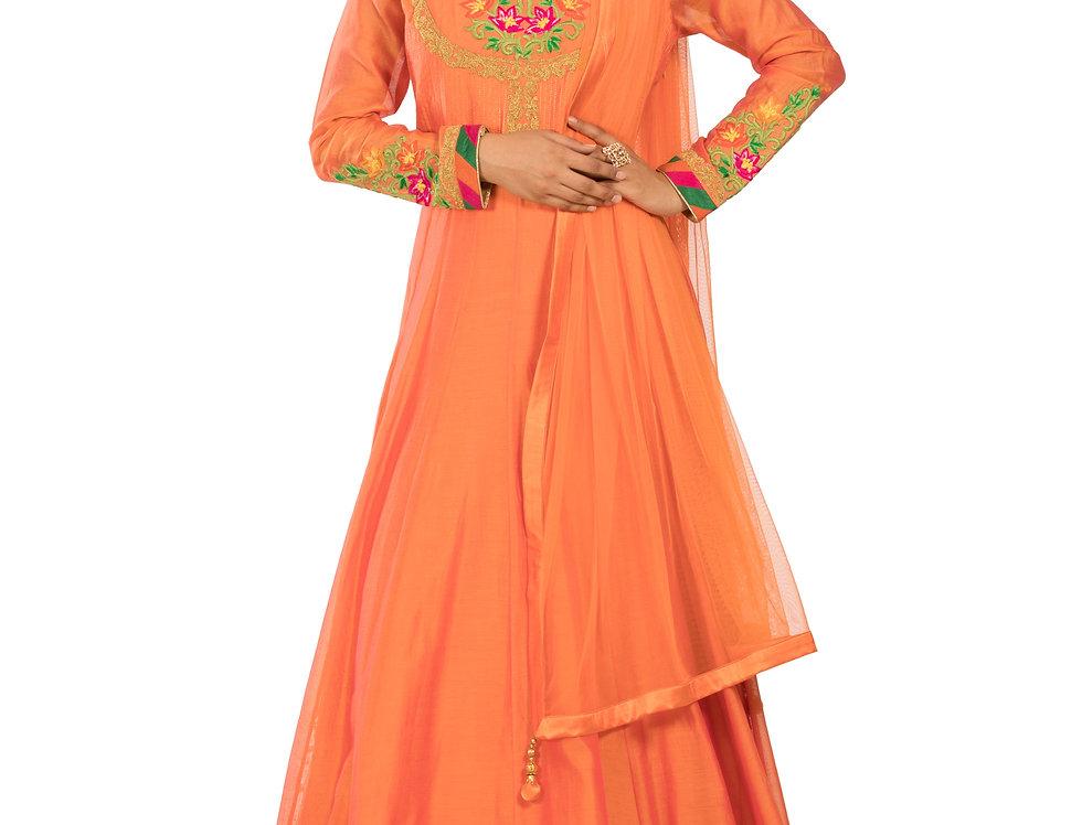 Orange Base Silk Anarkali with Embroidery Work & Dupatta (Style Code: 2327201)