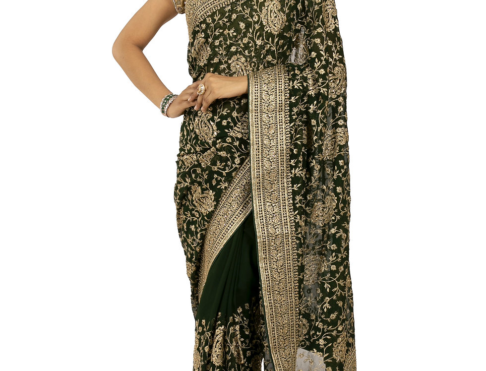 Bottle Green Base Georgette Designer Saree with Blouse (Style Code:2380057)