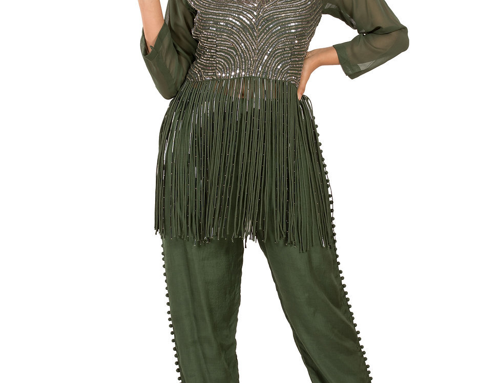 Green Base Designer Indo-Western Dress with Pants (Style Code: 2386998)