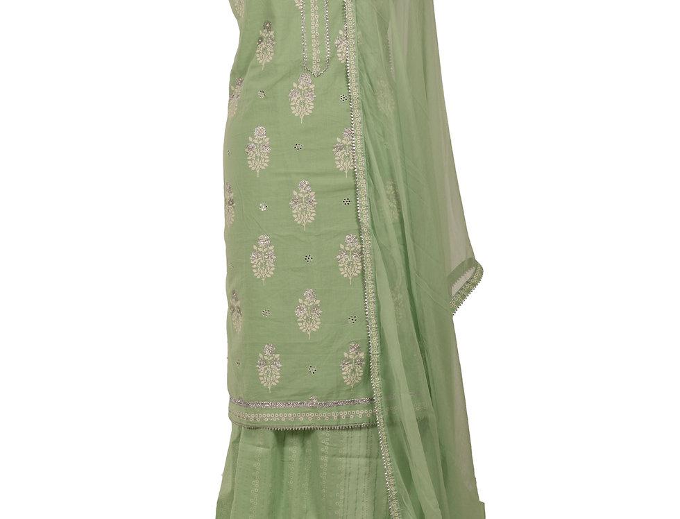 Light Green Base Cotton Unstitched Suit Salwar & Dupatta (Style Code: 2385142)