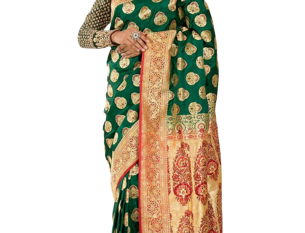 Green Base Silk Designer Zari Work Saree & Blouse (Style Code: 2376758)