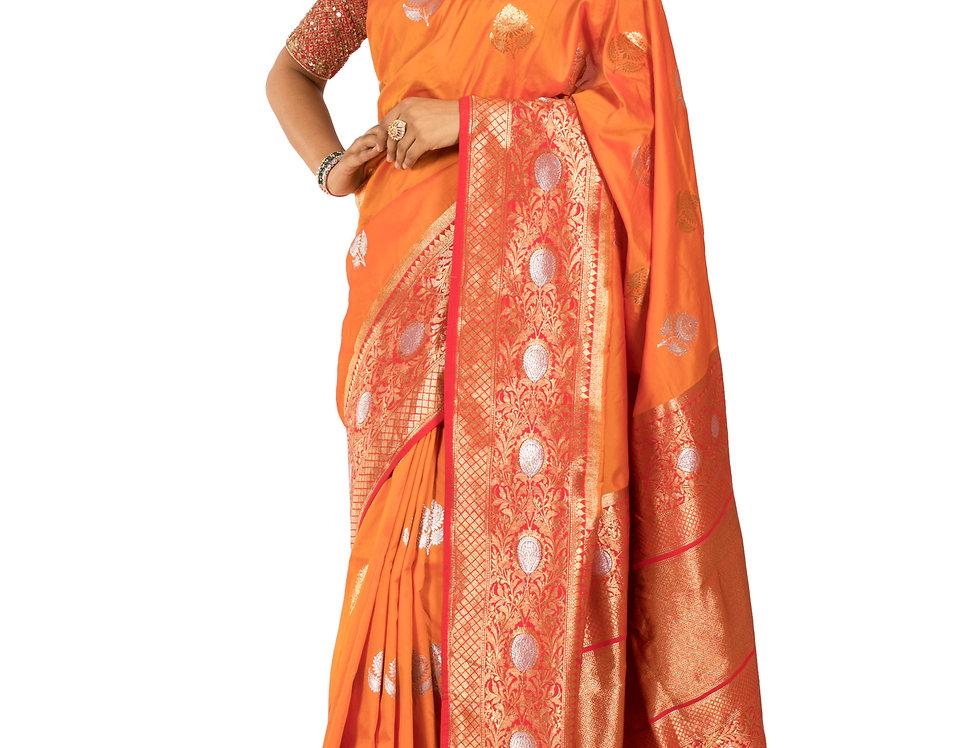 Orange Base Silk Designer Saree with Zari Work & Blouse (Style Code:2358428)
